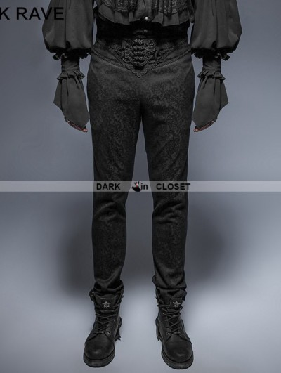 Punk Rave Vintage Black Pattern Gothic Pants for Man