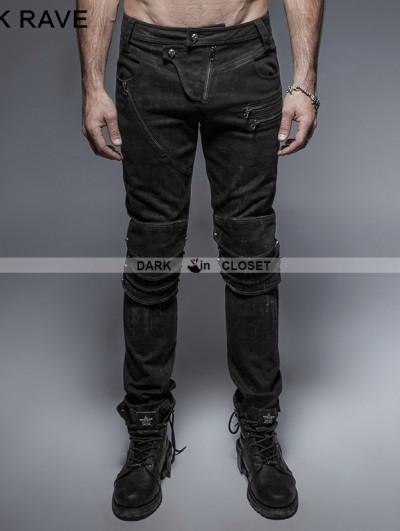 Punk Rave Black Gothic Punk Armor Knee Jeans for Man