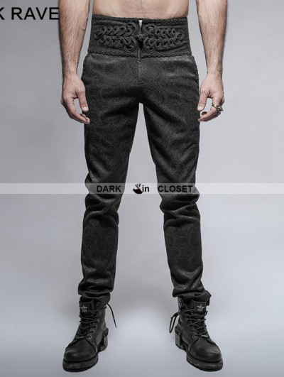 Punk Rave Black Peacock Button Gothic Pants for Men