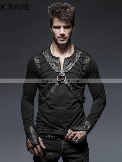 Punk Rave Black Gothic Punk Lacing Shoulder Long Sleeves T-Shirt for Men