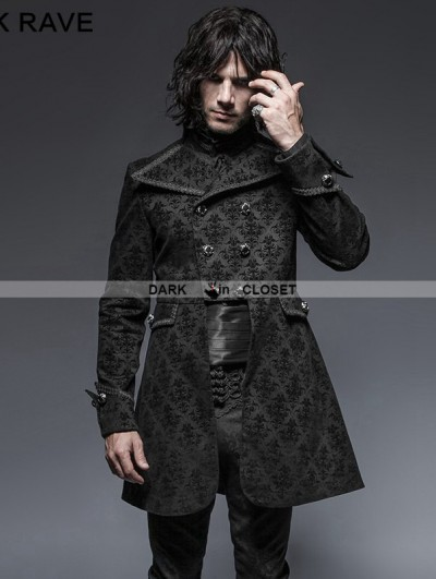 Punk Rave Black Gothic Script Box-Pleat Jacket for Men