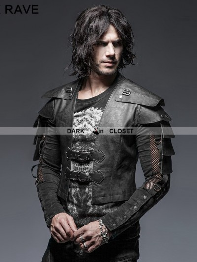 Punk Rave Black Gothic Armor Warrior Short Jacket for Men