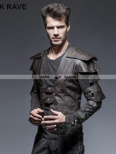 Punk Rave Coffee Gothic Armor Warrior Short Jacket for Men