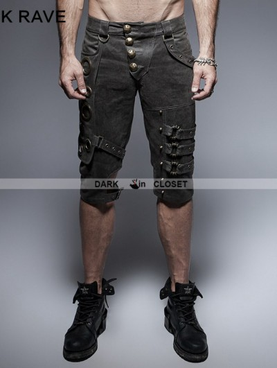 Punk Rave Black Steampunk Shorts for Men