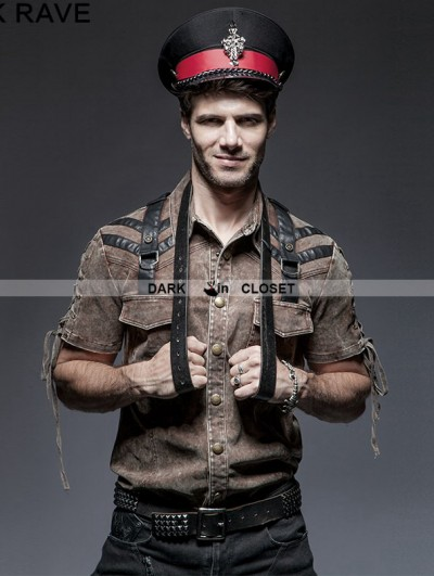Punk Rave Coffee Steampunk Short Sleeve Shirt for Men