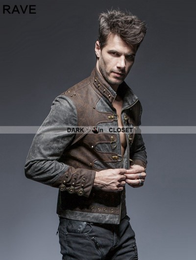 Punk Rave Steampunk Short Jacket for Men