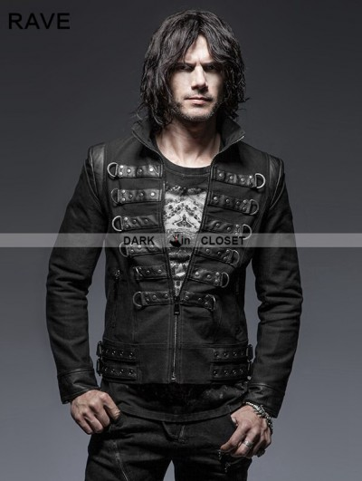 Punk Rave Black Gothic Punk Handsome Soldier Jacket for Men