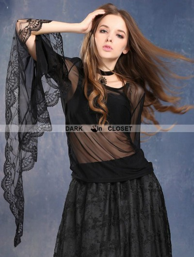 Dark in Love Black Gothic Dark Poetry Feel Lace T-shirt for Women