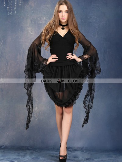 Dark in Love Gothic Black Tee with Transparent Lace Sleeves