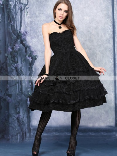 Dark in Love Black Gothic Flocking Corset Dress
