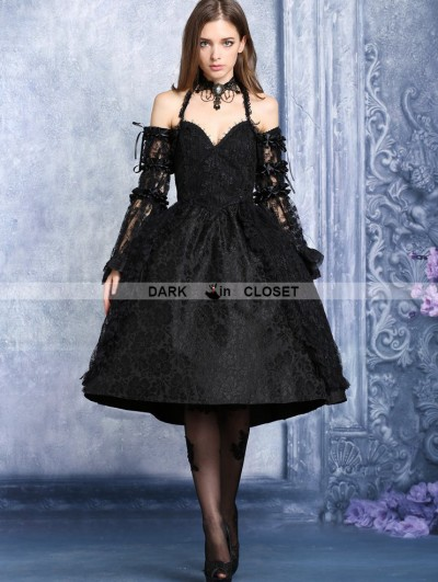 Dark in Love Black Lace Halter Gothic Dress