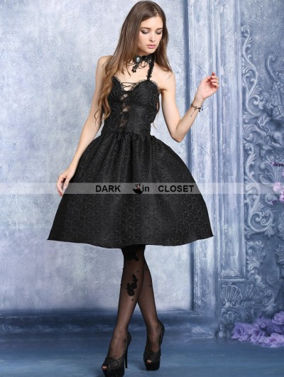 Dark in Love Black Halter Sexy Gothic Dress