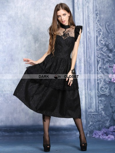Dark in Love Black Gothic Peacock Dress