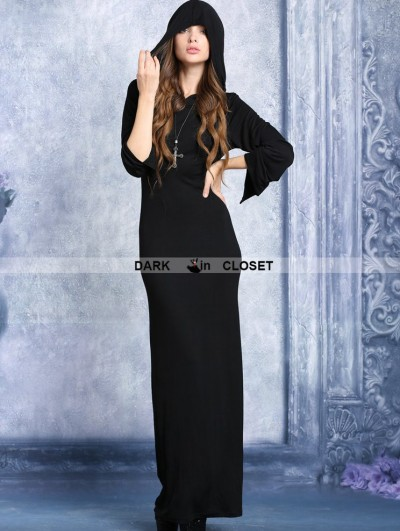 Dark in Love Black Hooded Long T-shirt Dress with Sexy Back