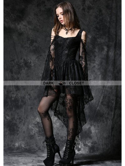 Dark in Love Black Off-the-Shoulder Long Sleeves High-Low Lace Gothic Dress