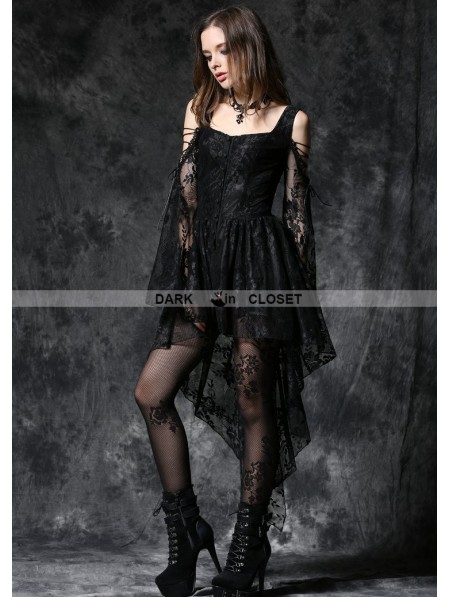 Dark In Love Black Off The Shoulder Long Sleeves High Low Lace