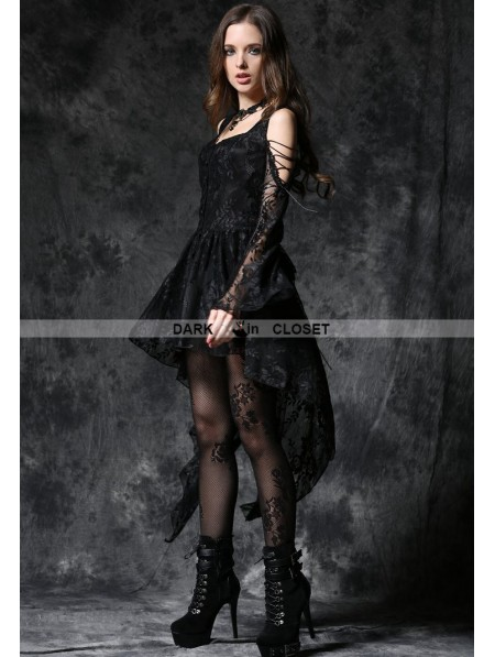 d10b6a32d0e ... Dark in Love Black Off-the-Shoulder Long Sleeves High-Low Lace Gothic  ...