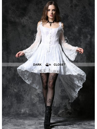 Dark in Love White Off-the-Shoulder Long Sleeves High-Low Lace Gothic Dress