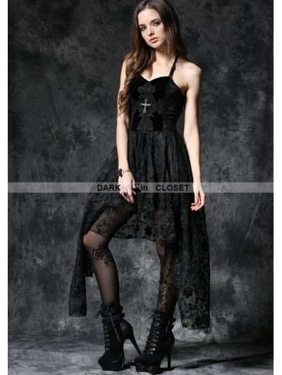 Dark in Love Elegant Black Asymmetric Gothic Dress