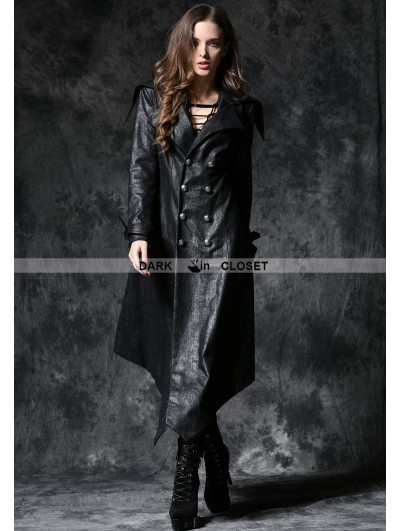 Dark in Love Black Gothic Crack Leather Sword Robe Jacket with Double-Buttons