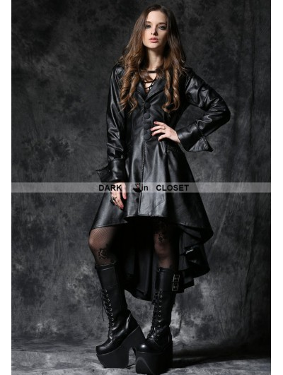 Dark in Love Black Gothic Leather Dovetail Robe Jacket with Eyelets Cap