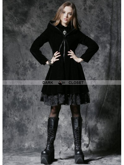 Dark in Love Gothic Dark Velvet Jacket with Lace Hem