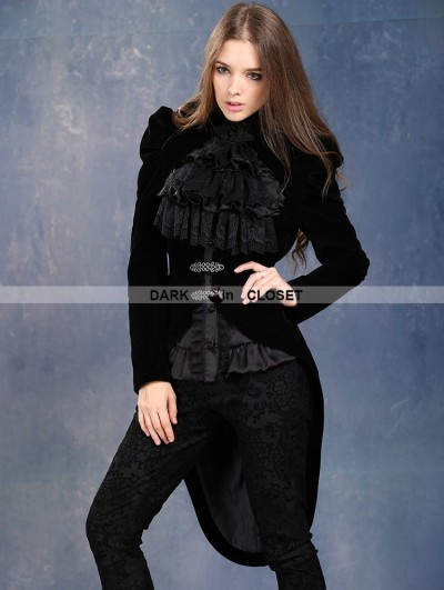 Dark in Love Black Velvet Gothic Masquerade Style Jacket for Women