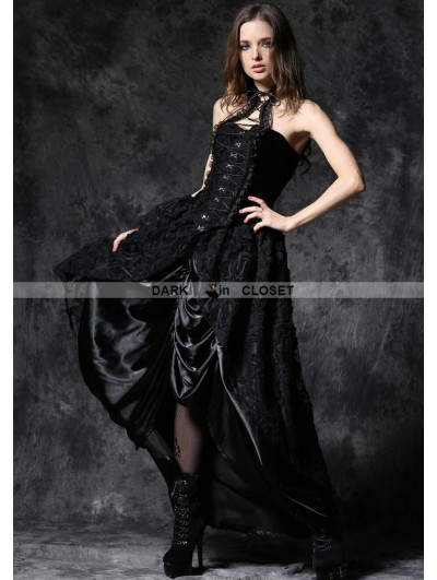 Dark in Love Gothic Lace Skirt with Satin Crimple