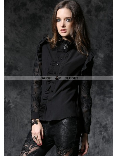 Dark in Love Black Gothic Long Sleeves Blouse with Lace-up Back