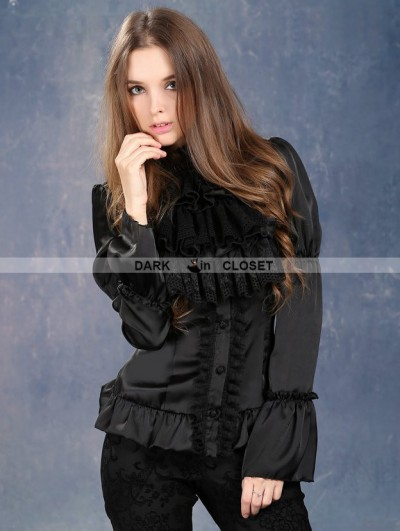 Dark in Love Black Victorian Style Gothic Blouse for Women