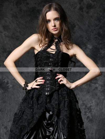 Dark in Love Gothic Elegant Velvet Corset with Cord and Lace Aroundneck