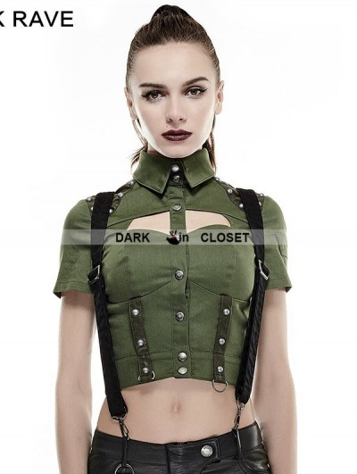 Punk Rave Green Sexy Military Uniform Short Shirts for Women