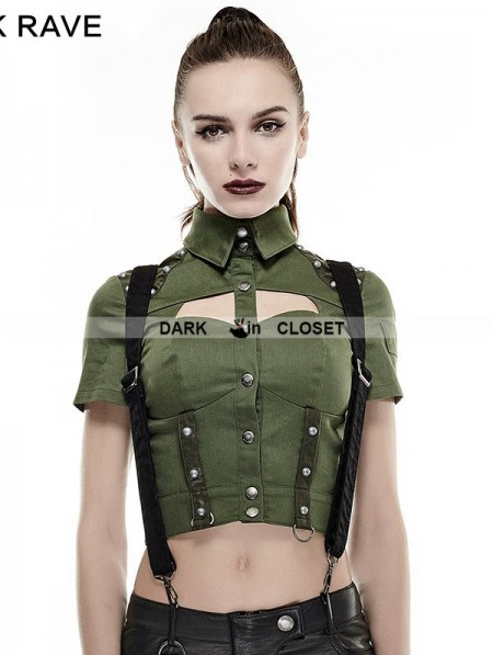 Punk Rave Green Sexy Military Uniform Short Shirts for ...