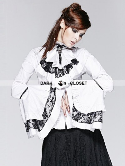 Punk Rave White Gothic Long Trumpet Sleeves Blouse with Detachable Bowtie