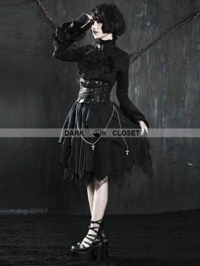 Punk Rave Black Gothic Punk Spider Web Irregular Skirt