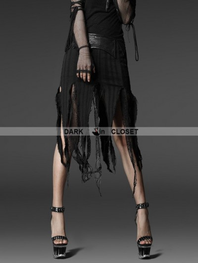 Punk Rave Black Gothic Jacquard Torn Skirt