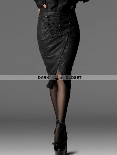 Punk Rave Black Gothic Silm Uniform Feeling Skirt