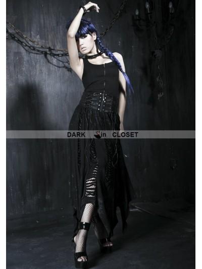 Punk Rave Black Gothic High Waist Irregular Skirt