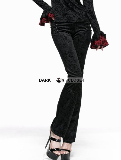 Punk Rave Black Gothic Long Flared Trousers for Women