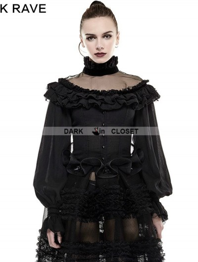 Punk Rave Black Gothic Lolita Lantern Sleeves Shirt for Women