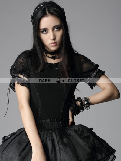 Punk Rave  Black Gothic Punk Short Sleeves Shirt for Women