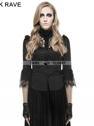 Punk Rave  Black Gothic IRIS Shirt for Women