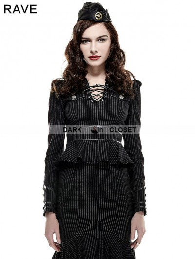 Punk Rave Gothic Stand Collar Military Uniform Shirt for Women