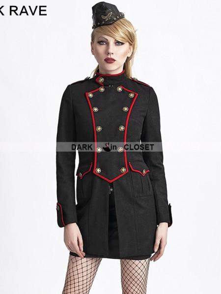 Punk Rave Black Gothic Military Style Wool Coat - DarkinCloset.com
