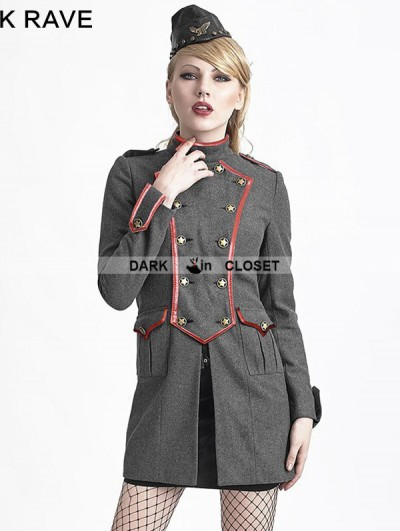 Punk Rave Gray Gothic Military Style Wool Coat