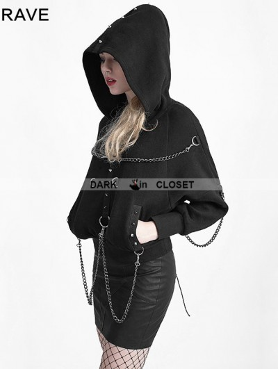 Punk Rave Black Gothic Heavy Metal Chain Bat Sweater for Women