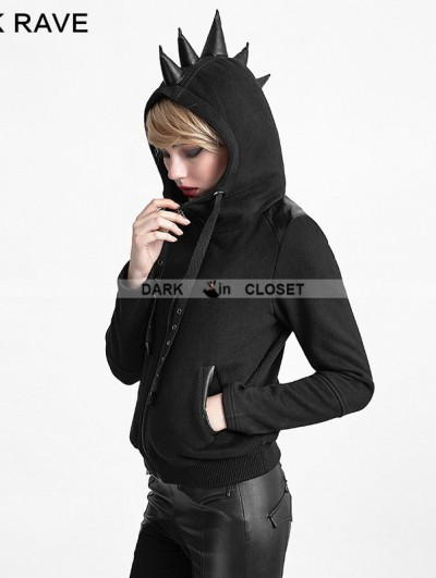Punk Rave Black Gothic Punk Hoodie Coat with Rhino Horn for Women