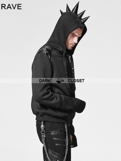 Punk Rave Black Gothic Punk Hoodie Coat with Rhino Horn for Men