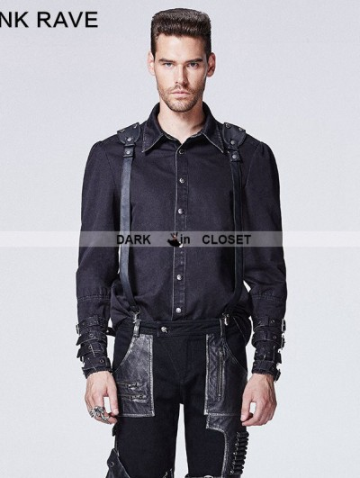 Punk Rave Black Gothic Punk Shirt with Vertebra Printing for Men