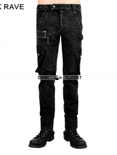 Punk Rave Black Gothic Punk Bag Leather Men's Trousers